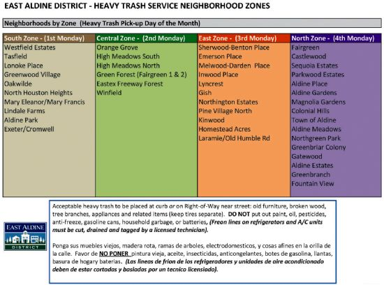 Heavy Trash Pick Up To Resume In All Of East Aldine District